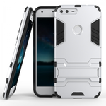Slim Armor Kickstand Tough Dual Layer Protective Case For Google Pixel 5.0inch - Silver