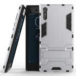 Slim Armor Shockproof Hybrid Kickstand Protective Cover Cases For Sony Xperia XZ - Silver