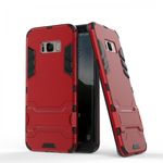 Hybrid Dual Layer Armor Defender Protective Case Cover with Kickstand for Samsung Galaxy S8 - Red
