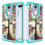Tough Protective Rubber Bumper Shockproof Hybrid Phone Case For LG Aristo / LG K8 2017 - White&Teal