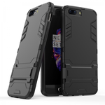 Slim Rugged Armor Hybrid Defender Protective Case with Kickstand for OnePlus 5 - Black