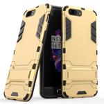 Slim Rugged Armor Hybrid Defender Protective Case with Kickstand for OnePlus 5 - Gold