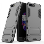 Slim Rugged Armor Hybrid Defender Protective Case with Kickstand for OnePlus 5 - Gray