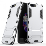 Slim Rugged Armor Hybrid Defender Protective Case with Kickstand for OnePlus 5 - Silver