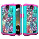 Diamond Bling Hybrid Soft Silicone Protective Cover Case For ZTE Avid Trio Z833 - Teal&Rose