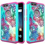 Hybrid Armor Defender Shockproof Protective Case For ZTE Blade Z MAX / ZMAX PRO 2 - Teal Flower