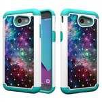 Case For Samsung Galaxy J3 Emerge Cover Hard Rubber Hybrid Diamond Bling Phone Skin - Nebula