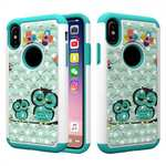 Crystal Bling Diamond Hybrid Armor Defender Dual Layer Shockproof Case Cover for iPhone X - Owl