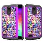Diamond Bling Skin Dual Layer Hybrid Phone Case For LG Stylo 3 / Stylo 3 Plus - Bauhinia Flower