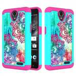 Hybrid Dual Layer Shockproof Defender Protective Case Cover For ZTE Maven 3 Z835 -  Teal Flower