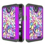 Luxury Bling Diamond Hard Rubber Hybrid Protective Case For ZTE Maven 3 Z835 - Bauhinia Flower