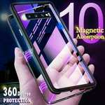 For Samsung Galaxy S20 Ultra S10 Plus Phone Case Magnetic Adsorption Tempered Glass Cover
