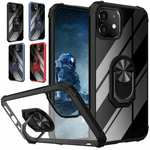 For iPhone 12 Pro Max 12 Mini Case Kickstand Shockproof Ring Clear Hard Cover