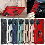 For Samsung Galaxy A12 Rugged Armor Shockproof Ring Stand Case Cover