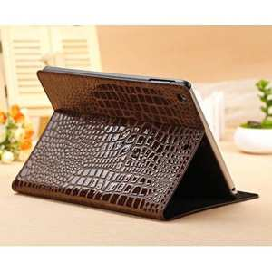 Luxury Crocodile Skin Pattern Leather Stand Case for iPad Air - Brown