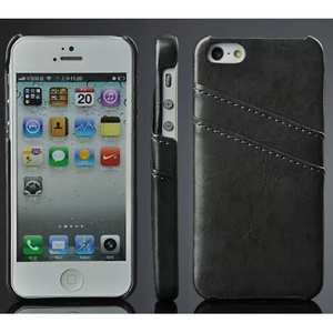 Oil Wax Style Insert Card Leather Back Case Cover for iPhone SE/5S/5 - Black