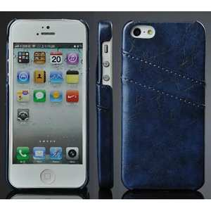 Oil Wax Style Insert Card Leather Back Case Cover for iPhone SE/5S/5 - Dark blue