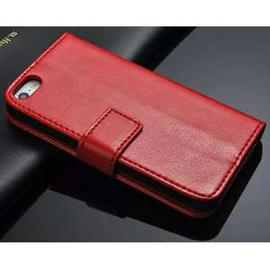 Crazy Horse Grain Leather Stand Case for iPhone SE/5s/5 with Card Holder - Red