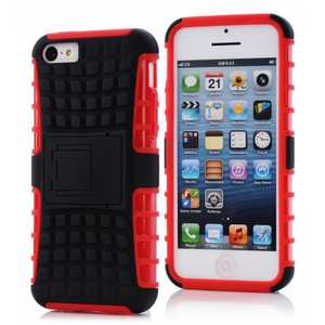 Heavy Duty Strong Hard TPU Case Cover Stand For iPhone 5C - Red