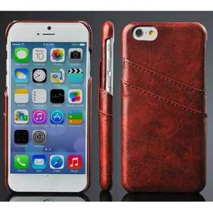 Oil Wax Style Insert Card Leather Back Case Cover for iPhone 6/6S 4.7 Inch - Brown