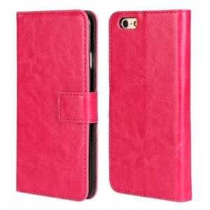 Crazy Horse Leather Wallet Style Case For iPhone 6 Plus/6S Plus 5.5inch - Rose red