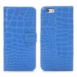 Crocodile Magnetic Wallet Flip Leather Case for iPhone 6 Plus/6S Plus 5.5inch - Blue