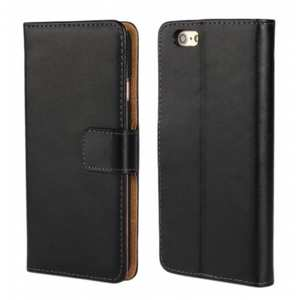 Genuine Leather Wallet Flip Case Cover For iPhone 6/6S 4.7inch - Black