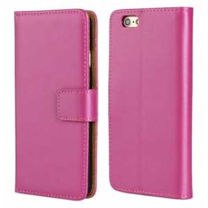 Genuine Leather Wallet Flip Case Cover For iPhone 6/6S 4.7inch - Rose red