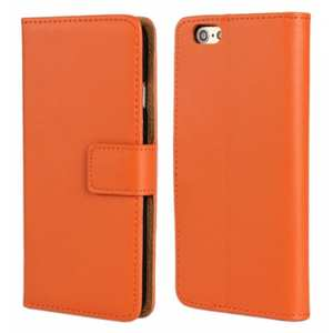 Genuine Leather Wallet Flip Case Cover For iPhone 6 Plus/6S Plus 5.5inch - Orange