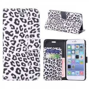 Leopard Skin Leather Folio Stand Wallet Case for iPhone 6 Plus/6S Plus 5.5 Inch with Card Slot - White