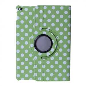 360 Degree Rotating Polka Dots Leather Flip Stand Case For iPad Air 2 - Green