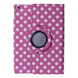 360 Degree Rotating Polka Dots Leather Flip Stand Case For iPad Air 2 - Rose