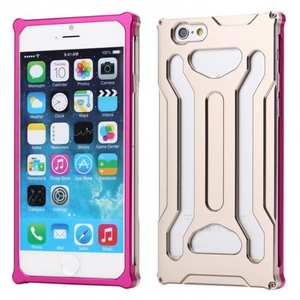 Sturdy Aluminum Metal Frame Bumper Case For iPhone 6 Plus/6S Plus 5.5inch - Champagne/Rose red