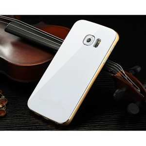 Aluminum Metal Bumper With Tempered glass Back Cover for Samsung Galaxy S6 Edge - Gold&White