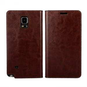 Crazy Horse Genuine Wallet Leather Cover Case For Samsung Galaxy Note 4 - Coffee