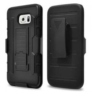 Black Dual Layer Hybrid Armor Cover with Belt Clip Holster For Samsung Galaxy S6 Edge