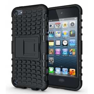 Shockproof Dual Layer Hybrid Armor Kickstand Case For Apple iPod Touch 5th Gen - Black