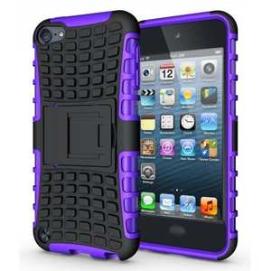 Shockproof Dual Layer Hybrid Armor Kickstand Case For Apple iPod Touch 5th Gen - Purple