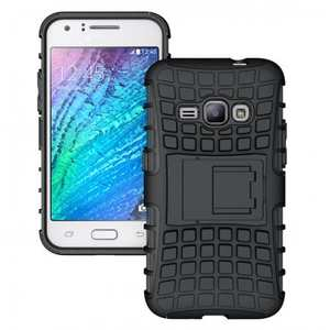 Heavy Duty Shockproof Dual Layer Hybrid Stand Cover Case For Samsung Galaxy J1 2016 - Black