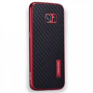 Aluminium Metal Bumper + Carbon fiber Back Cover Case For Samsung Galaxy S7 G930 - Red&Black