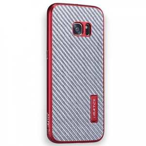 Aluminium Metal Bumper + Carbon fiber Back Cover Case For Samsung Galaxy S7 G930 - Red&Silver