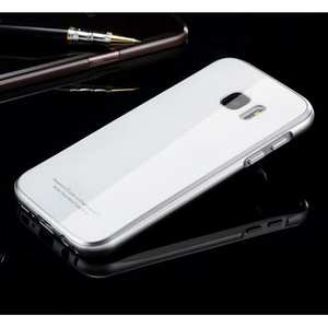Aluminum Bumper + Tempered Glass Back Case Cover for Samsung Galaxy S7 - Silver/white