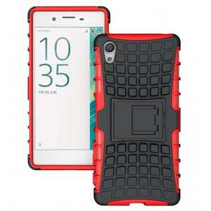Hybrid Shockproof Rugged Dual Layer Protective Case with Kickstand For Sony Xperia XA - Red