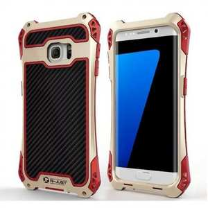 Luxury Aluminum Metal Shockproof Case for Samsung Galaxy S7 Edge - Gold/Red