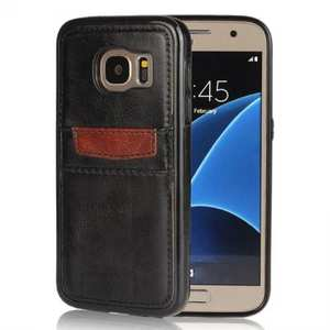 Crazy Horse Leather Card Slots TPU Back Case Cover For Samsung Galaxy S7 - Black