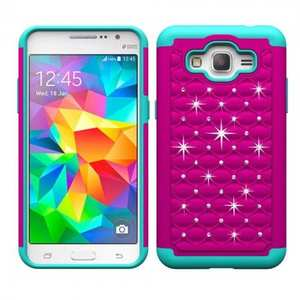 Luxury Crystal Bling Hybrid Armor Defender Case For Samsung Galaxy Grand Prime G530/G5308 - Hot pink&Teal