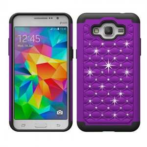 Luxury Crystal Bling Hybrid Armor Defender Case For Samsung Galaxy Grand Prime G530/G5308 - Purple&Black