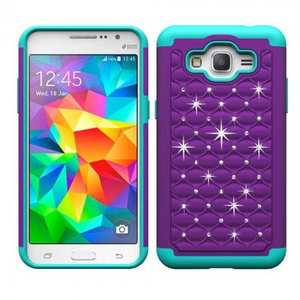 Luxury Crystal Bling Hybrid Armor Defender Case For Samsung Galaxy Grand Prime G530/G5308 - Purple&Teal