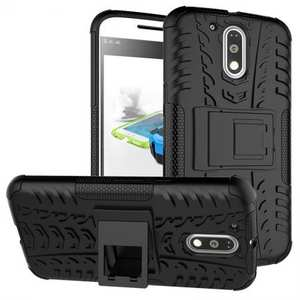 Shockproof Hybrid Dual Layer Protective Case Kickstand Cover for Motorola MOTO G4 Plus - Black