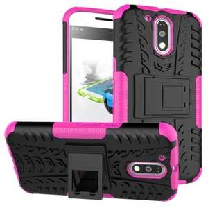 Shockproof Hybrid Dual Layer Protective Case Kickstand Cover for Motorola MOTO G4 Plus - Hot pink